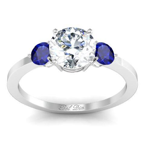 Sapphire Accented Three Stone Engagement Ring Sapphire Engagement Rings deBebians