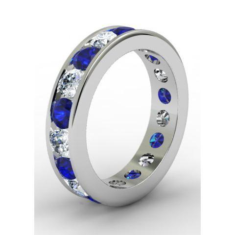 Sapphire and Diamond Round Gemstone Eternity Band in Channel Setting Gemstone Eternity Rings deBebians
