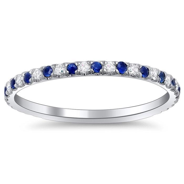Sapphire and Diamond Wedding Band Diamond Wedding Rings deBebians