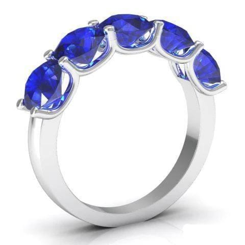 3.00cttw U Prong Blue Sapphire Five Stone Band Five Stone Rings deBebians