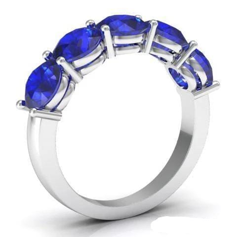 3.00cttw Shared Prong Blue Sapphire Five Stone Ring Five Stone Rings deBebians