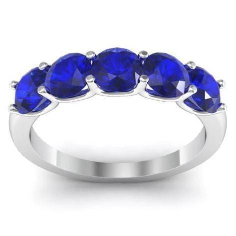 1.50cttw U Prong Blue Sapphire Five Stone Band Five Stone Rings deBebians