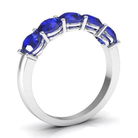 1.50cttw Shared Prong Blue Sapphire Five Stone Ring Five Stone Rings deBebians