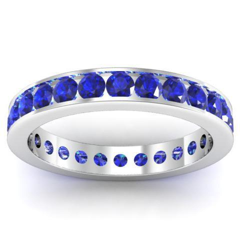 Blue Sapphire Puzzle Ring in Gold or Platinum