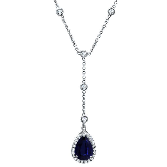 Sapphire Pear Diamond Halo Pendant Diamond Necklaces deBebians