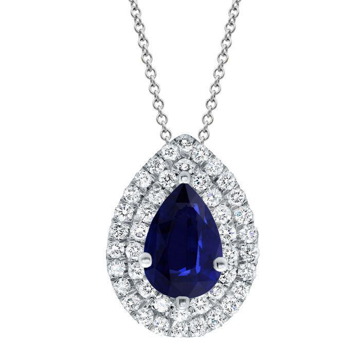 Sapphire Pear Double Halo Necklace