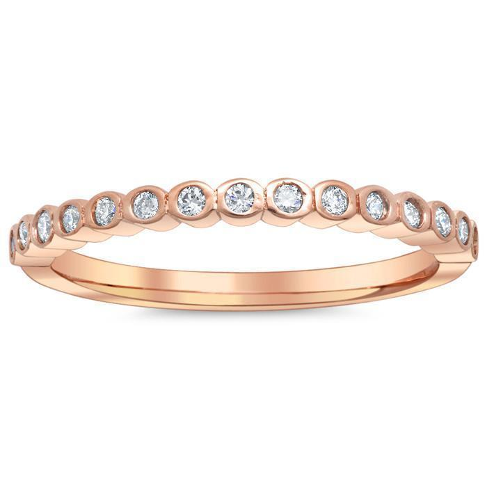 Diamond Bezel Thin Wedding Ring, 14kt Rose Gold Ready-To-Ship deBebians