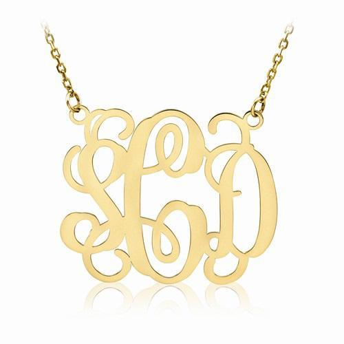 Script Monogram Pendant Personalized Necklaces deBebians
