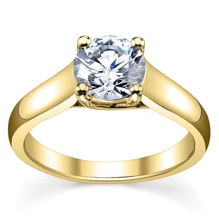 Forever One Moissanite Solitaire Engagement Ring 18kt Yellow Gold Ready-To-Ship deBebians