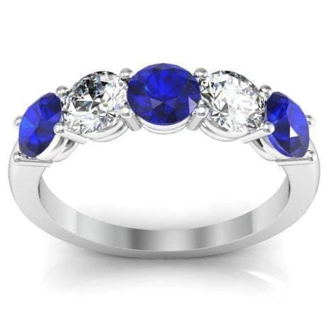 3.00cttw U Prong Blue Sapphire and Diamond Five Stone Band
