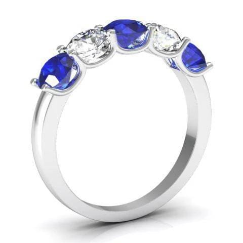 1.50cttw U Prong Blue Sapphire and Diamond Five Stone Band Five Stone Rings deBebians