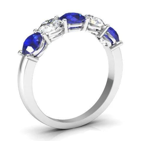 1.50cttw Shared Prong Blue Sapphire and Diamond Five Stone Ring Five Stone Rings deBebians
