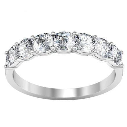 Seven Stone Ring with Square Shaped Diamonds Diamond Wedding Rings debebians