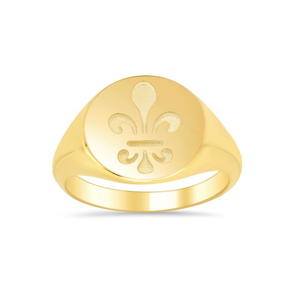 Fleur de lis Signet Ring for Ladies Signet Rings deBebians