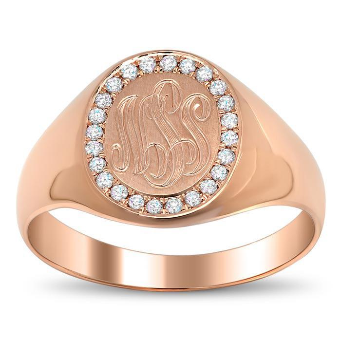 Signet Ring with Pave Set Diamond Rim Signet Rings deBebians