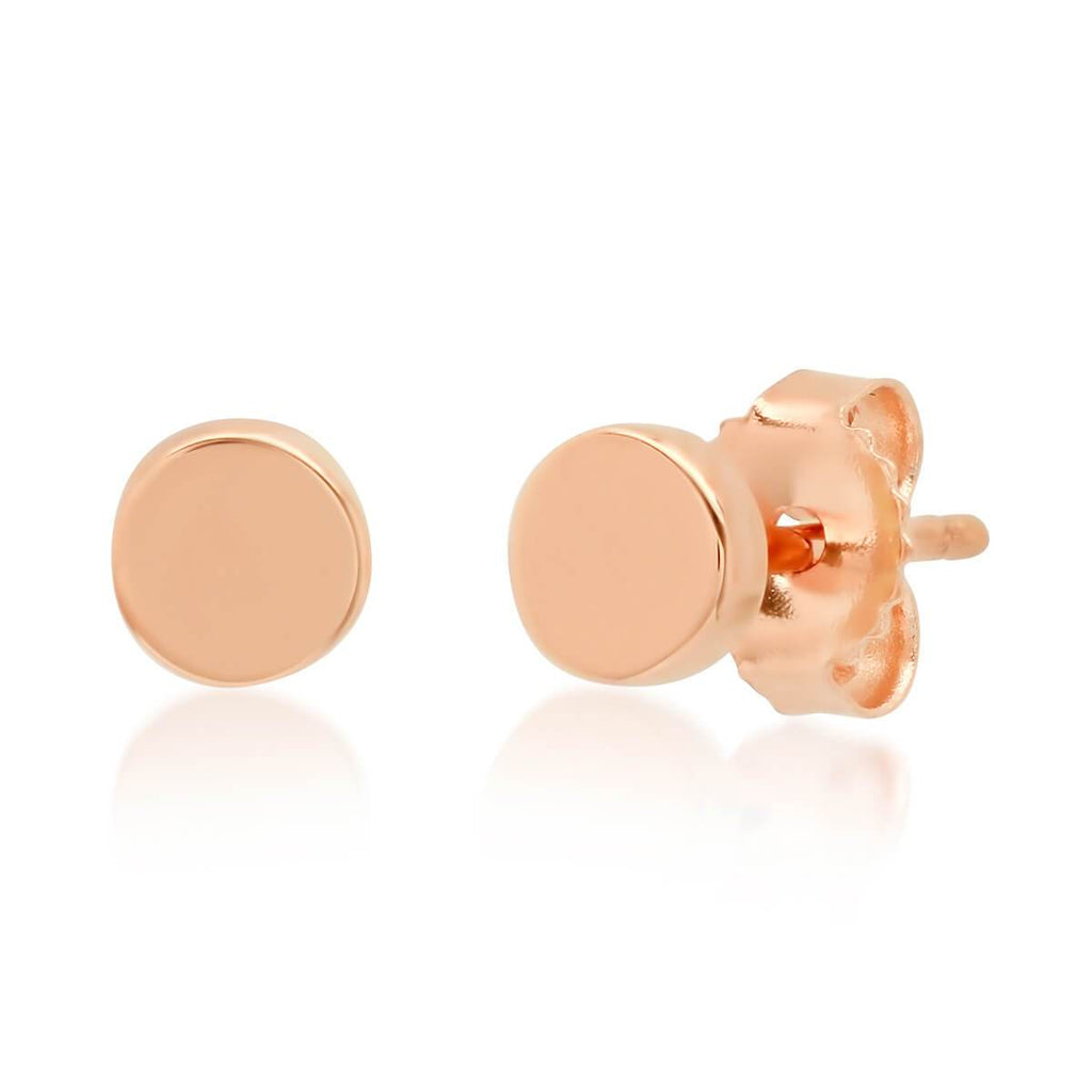 14k Gold Small Circle Stud Earrings Gold Earrings deBebians