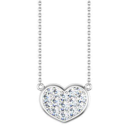 Gold Heart Necklace with Diamonds Diamond Necklaces deBebians