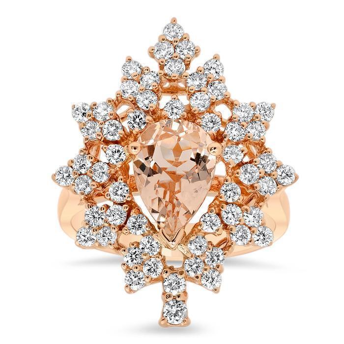 Diamond and Morganite Snowflake Ring in 14kt Rose Gold Ready-To-Ship deBebians
