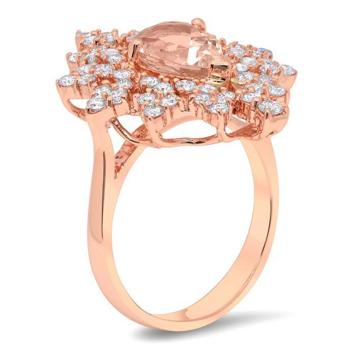Snowflake Halo Engagement Ring for Pear Morganite Rose Gold & Morganite Engagement Rings deBebians