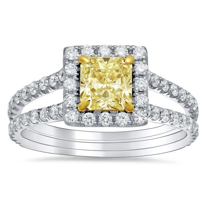 Pear Yellow Diamond Halo Engagement Ring
