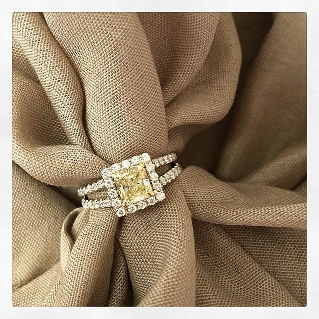 Split Shank Canary Diamond Engagement Ring Yellow Diamond Engagement Rings deBebians