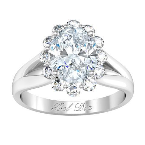 Split Shank Floral Halo Engagement Ring Halo Engagement Rings deBebians