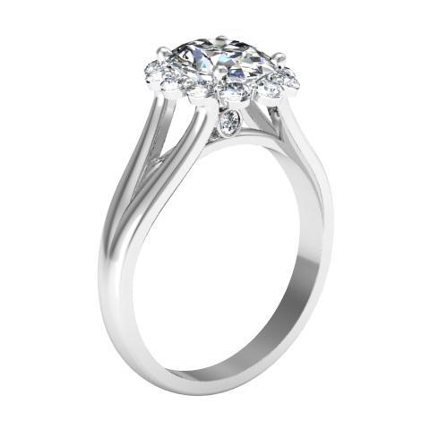 Split Shank Floral Halo Engagement Ring