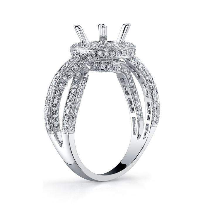 Split Shank Halo Engagement Ring with Mobius Twist Halo Engagement Rings deBebians