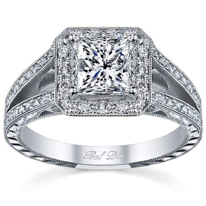 Split Shank Halo Setting Princess Cut