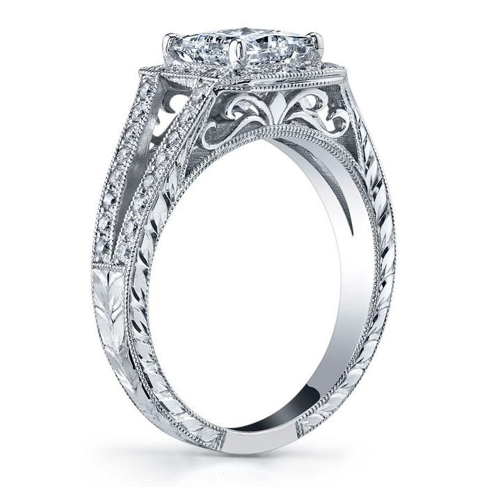 Split Shank Halo Setting Princess Cut Halo Engagement Rings deBebians