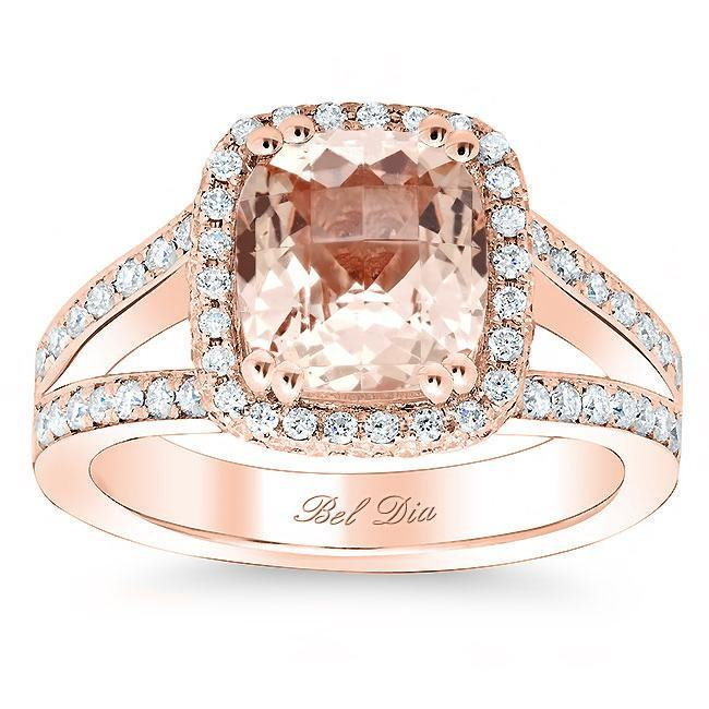 Split Shank Morganite Halo Engagement Ring Rose Gold & Morganite Engagement Rings deBebians