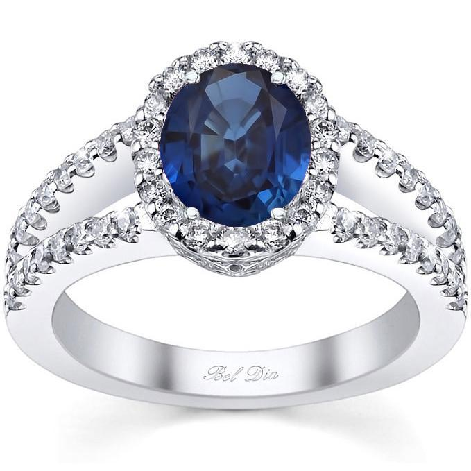 Three Stone Engagement Ring with Sapphires