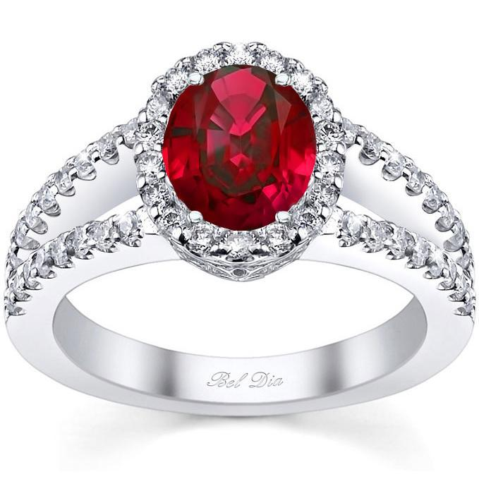 Split Shank Oval Ruby Halo Engagement Ring Ruby Engagement Rings deBebians