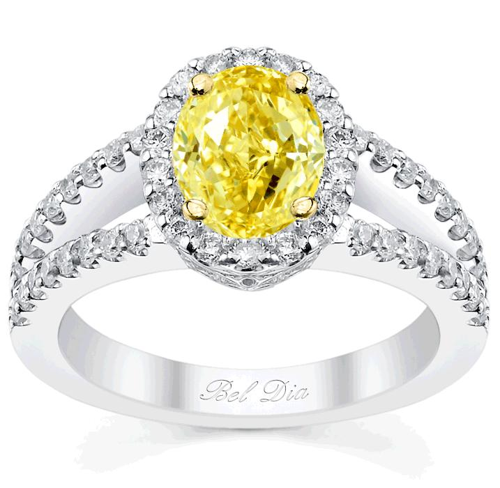 Canary Diamond Halo Engagement Ring with Yellow Diamond and Yellow Gold