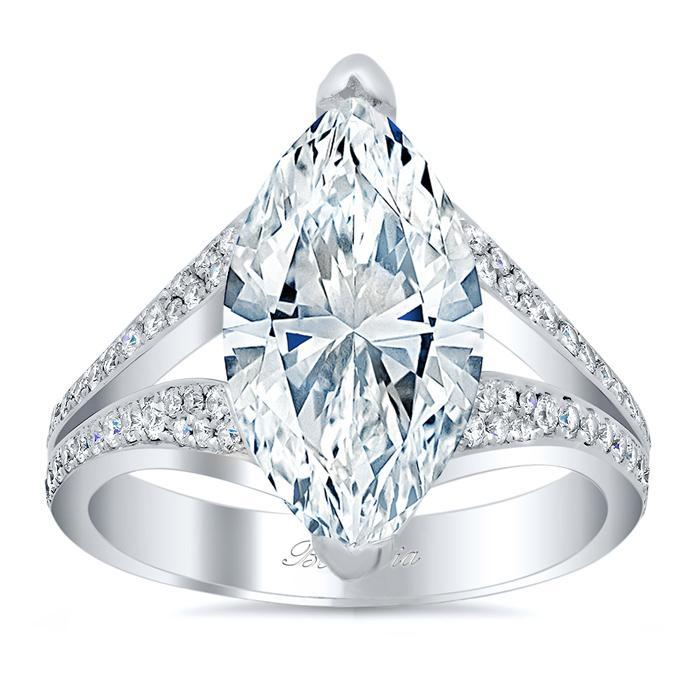 Split Shank Pave Diamond Marquise Engagement Ring Diamond Accented Engagement Rings deBebians