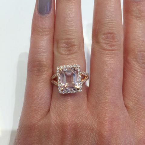 Split Shank Pave Diamond Morganite Halo Engagement Ring Rose Gold & Morganite Engagement Rings deBebians