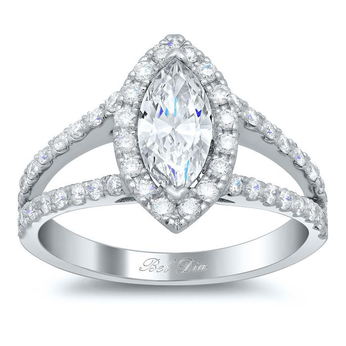 Split Style Marquise Halo Engagement Ring