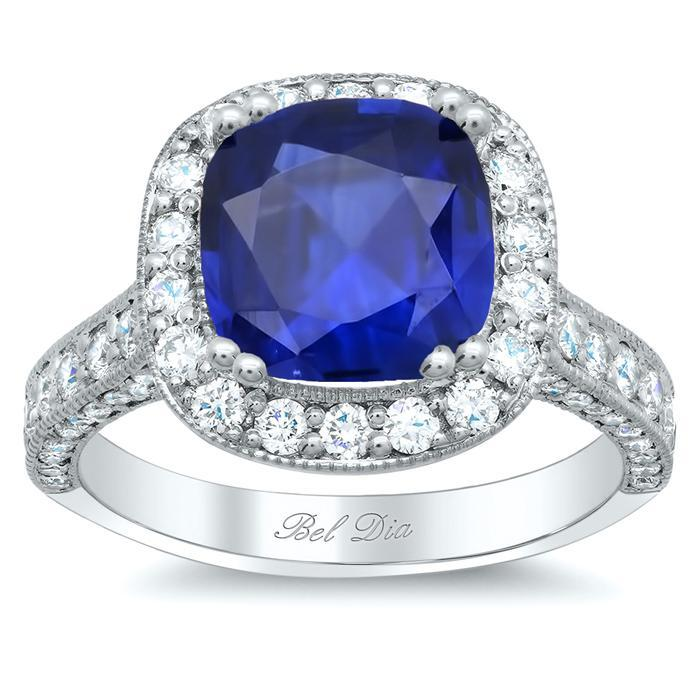Square Halo Setting with Milgrain for Blue Sapphire Sapphire Engagement Rings deBebians