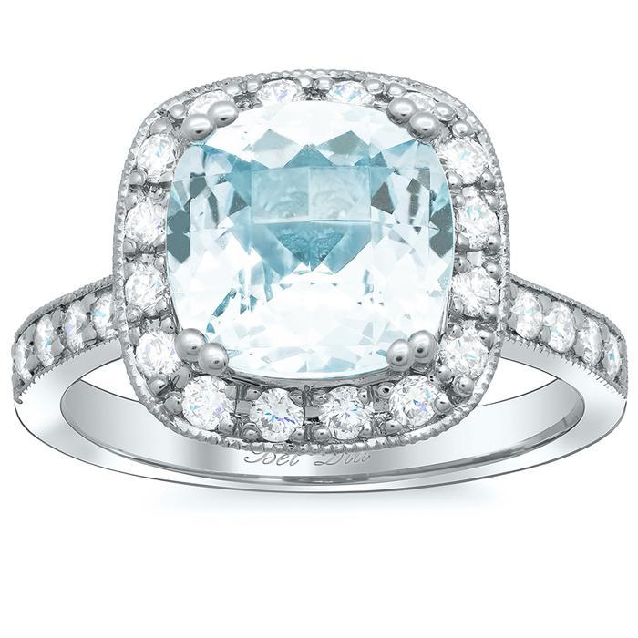 Square Pave Diamond Halo Engagement Ring for Aquamarine Aquamarine Engagement Rings deBebians