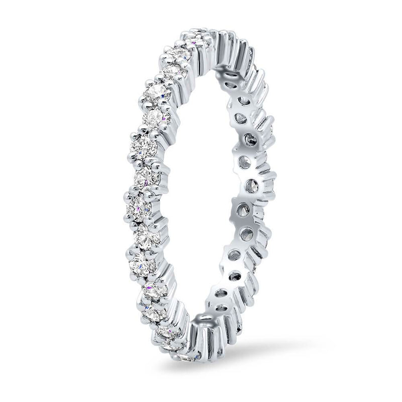 Stacking Alternating Round Diamond Eternity Ring - 0.75 cttw Diamond Wedding Rings deBebians