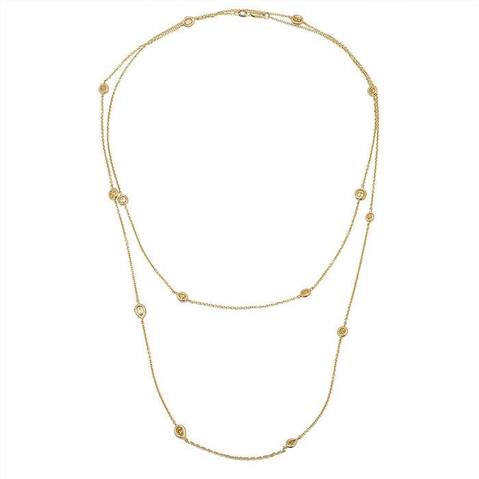 Station Necklace Yellow Gold with Fancy Yellow Diamonds Diamond Station Necklaces deBebians