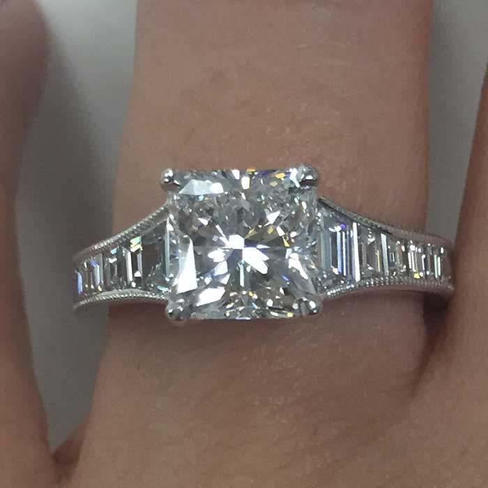 Step Cut Engagement Ring Setting with Baguettes Diamond Accented Engagement Rings deBebians
