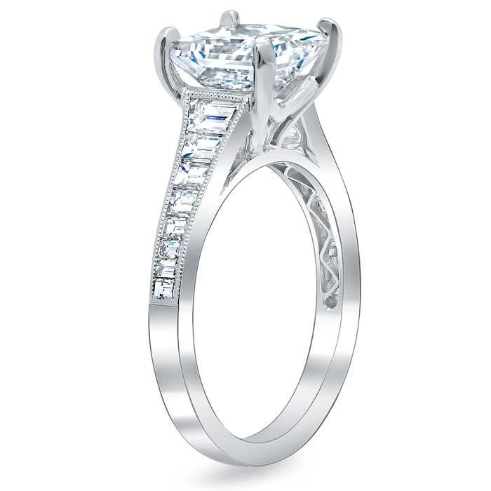 Step Cut Engagement Ring Setting with Baguettes