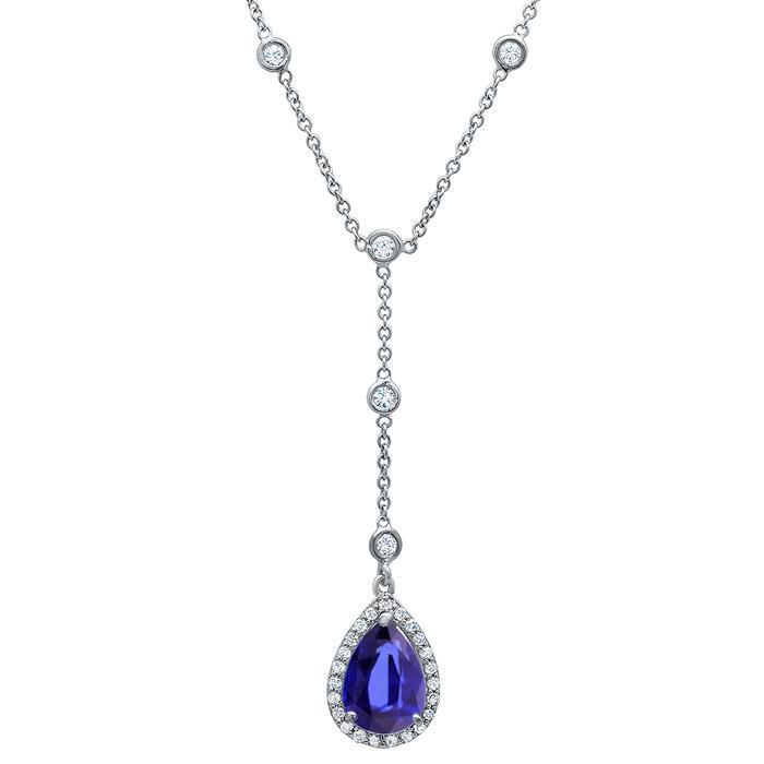 Tanzanite Pear Drop Halo Necklace Diamond Necklaces deBebians