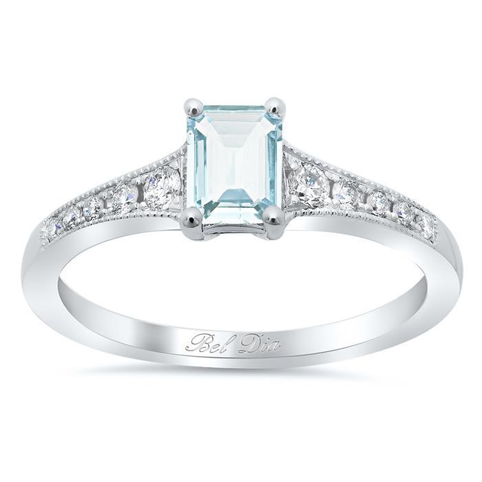Five Stone Engagement Ring with Aquamarine