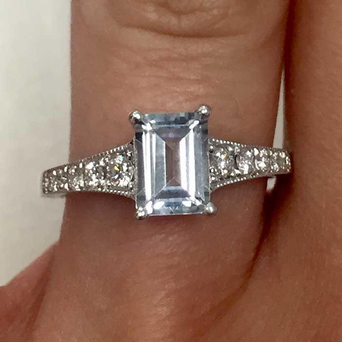 Tapered Diamond Engagement Ring with Emerald Cut Aquamarine Aquamarine Engagement Rings deBebians