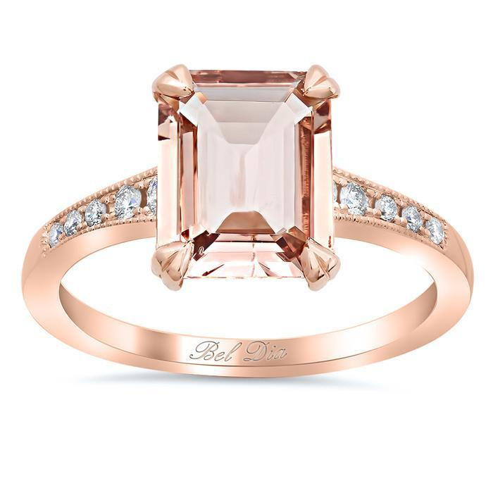 Tapered Pave Diamond Engagement Ring for Emerald Morganite Rose Gold & Morganite Engagement Rings deBebians