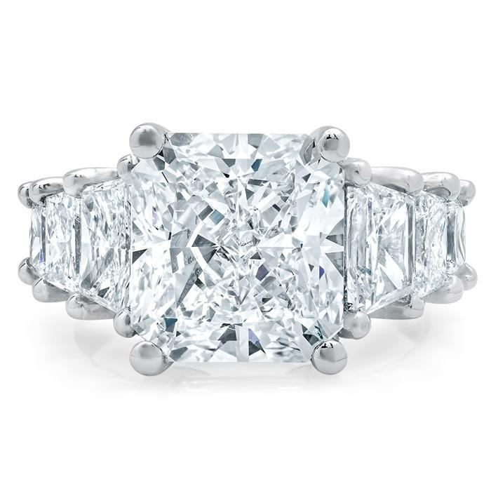 Tapered Radiant Engagement Ring with Trapezoids Diamond Accented Engagement Rings deBebians