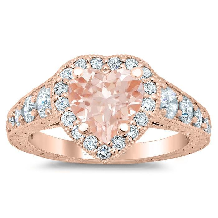 Tapered Rose Gold Heart Morganite Halo Engagement Ring Rose Gold & Morganite Engagement Rings deBebians