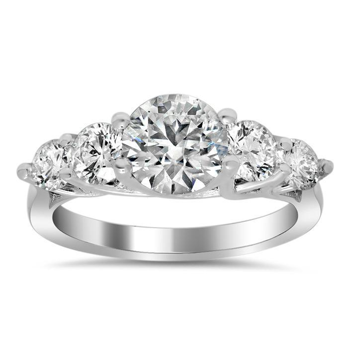 Tapered Trellis Five Stone Engagement Ring Diamond Accented Engagement Rings deBebians
